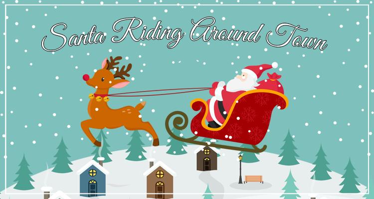 Santa Riding Around Town
